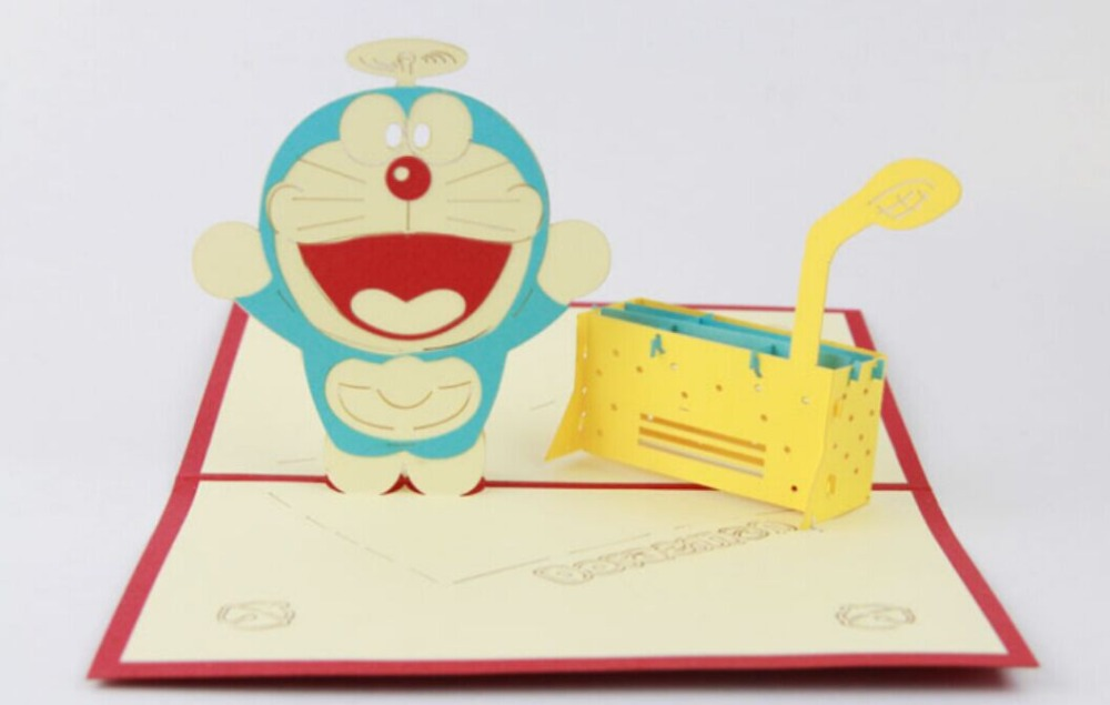 Doraemon pop up card /3D cartoon kirigami card/ handmade greeting card Free shipping carousel horse pop up card 3d greeting card handmade kirigami card free shipping