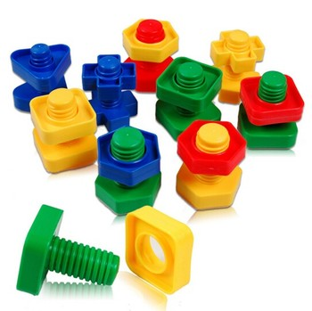 4pairs/lot Screw building blocks plastic insert blocks nut shape toys for children Educational Toys scale models