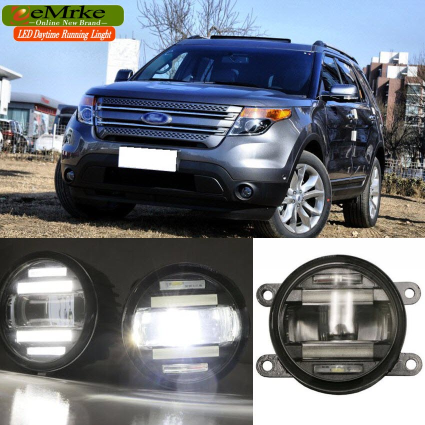 eeMrke Car Styling For Ford Explorer 2013 2014 2015 2 in 1 LED Fog Light Lamp DRL With Lens Daytime Running Lights eemrke car styling for opel zafira opc 2005 2011 2 in 1 led fog light lamp drl with lens daytime running lights