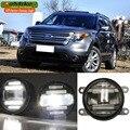 eeMrke Car Styling For Ford Explorer 2013 2014 2015 2 in 1 LED Fog Light Lamp DRL With Lens Daytime Running Lights