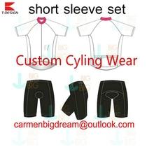 Personalizado de alta Qualidade Ciclismo Jersey + Shorts Da Bicicleta DIY Vestuário Ciclismo Da Bicicleta de Manga Curta Jersey Com Shorts Frete Grátis