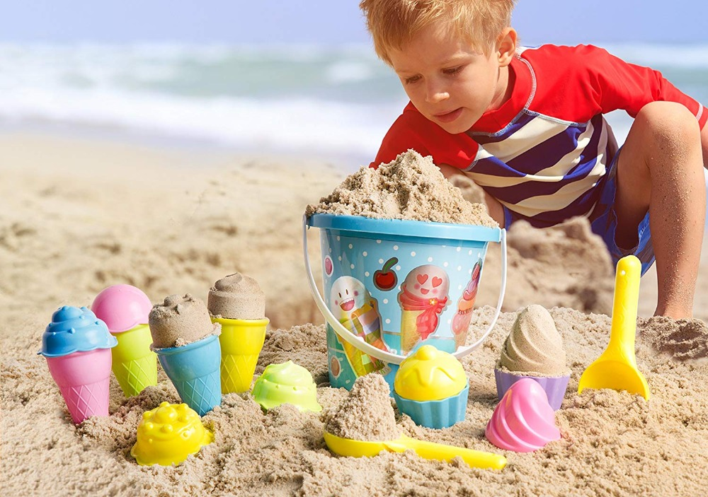 Kids Baby Beach Sand Toys Top Race Beach Set, Ice Cream Cake Series Mold Set,  Ice Cream Beach Pails