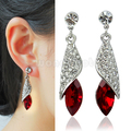 Pop Exquisite Glamour Silver+Red Rhinestone Crystal Tear Earrings Hot