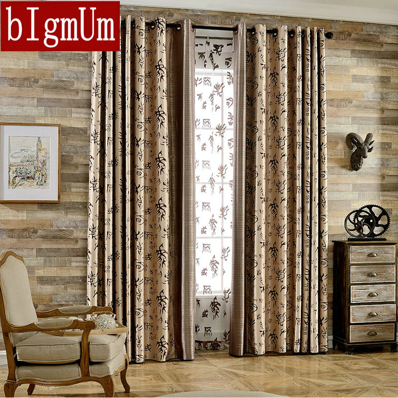 Ready Made Blackout Curtains Traditional Chinese Character Pattern For  Living /Bed Room Customized Special Jacquard