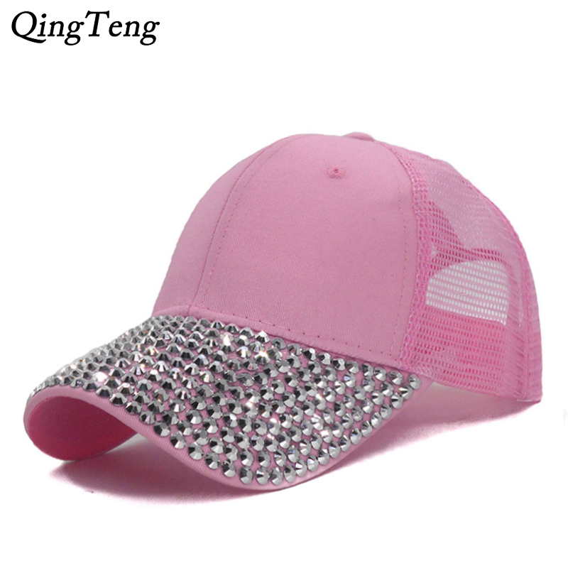 Detail Feedback Questions about Pink Women Studded Rhinestones Sequins Baseball  Cap Summer Adjustable Fashion Mesh Caps Girls Casual Snapback Hat Visor ... f67aa1b44a4