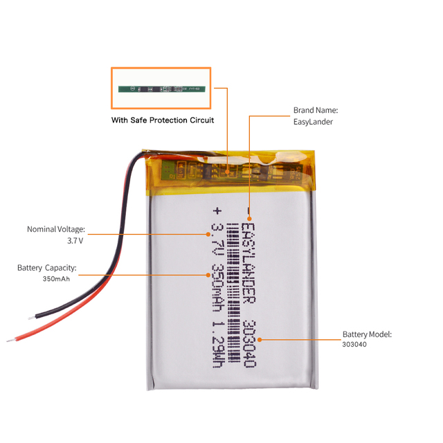 10pcs/Lot 3.7V 350mAh Rechargeable li Polymer Li-ion Battery For Flash lighting DIY DVR GPS Consumer electronics Device  303040 3