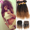 Star Style Honey Blonde Indian Curly Virgin Hair With Closure Ombre Kinky Curly Virgin Hair 3 Bundles With Closure Remy Hair