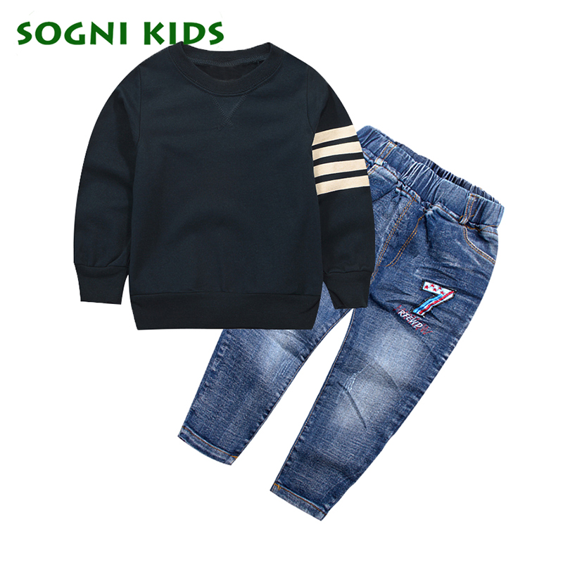 SOGNI KIDS Boys Clothing Set 2017 Spring Autumn Fashion Kids Black T- Shirt + Jeans Set Casual Cotton Suit For Boys Clothes Set