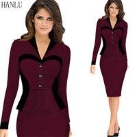 HANLU Women Heart Pattern Contrast Cut Fake Two-Piece Elegant Business Party Formal Office Wear To Work Pencil Peplum Dress
