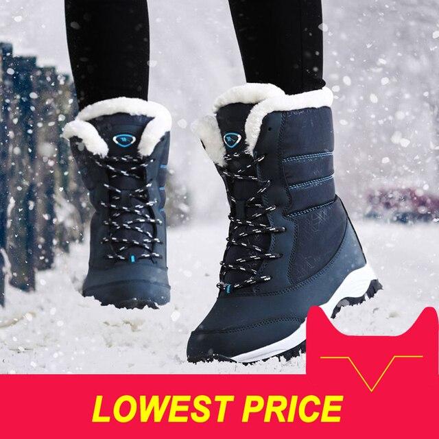 المرأة الأحذية عدم الانزلاق للماء الشتاء الكاحل الثلوج المرأة منصة الشتاء الأحذية مع سميكة الفراء بوتاس موهير