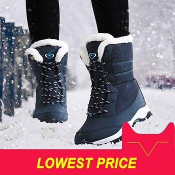 Kobiet buty antypoślizgowe wodoodporne zimowe kostki śniegu buty damskie platformy zimowe buty z grube futro botas mujer
