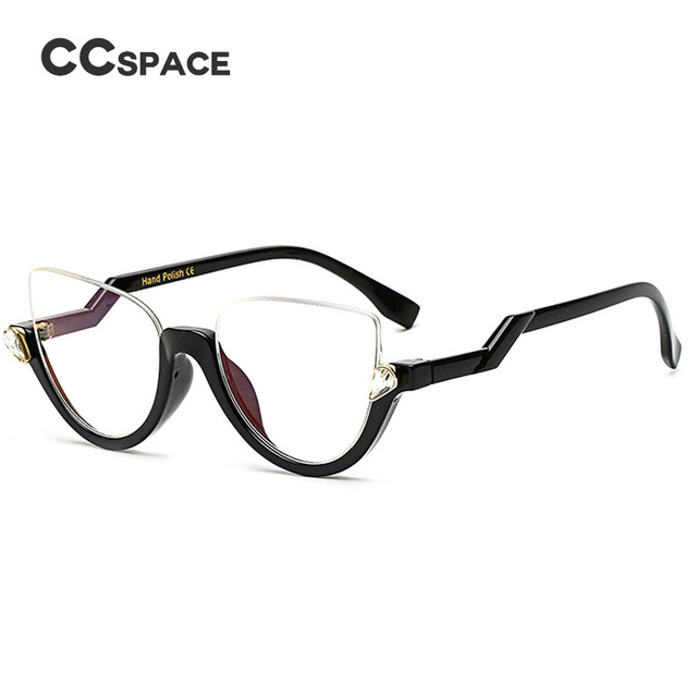 CCSPACE Semi Rimless Cat Eye Women Glasses Frame Crystal Diamonds ...