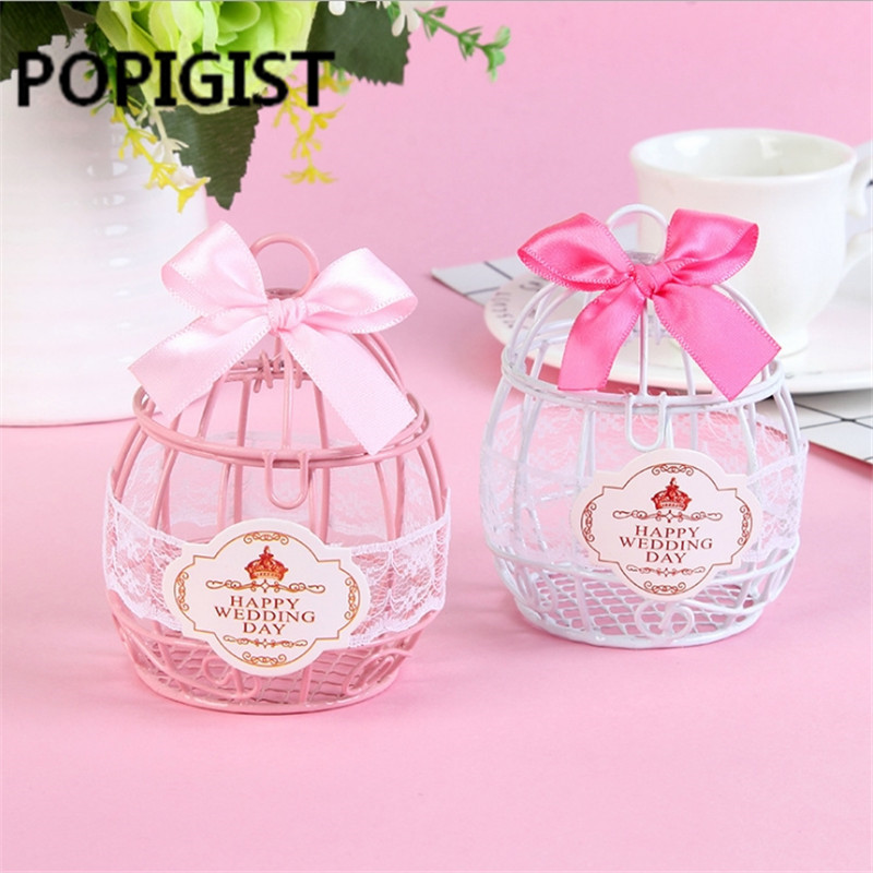 European Creative Iron Romantic White/pink Bird Cage Wedding Candy Box Wedding Favor And Gifts Wedding Decor 10pcs