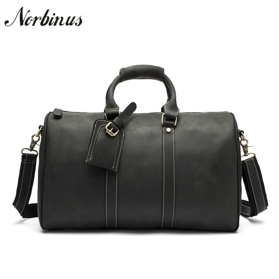 Norbinus Men Large Capacity Shoulder Bag Genuine Leather Luggage Bags Cow Leather Handbag Duffle Bags Vintage Travel Suitcase simline vintage genuine crazy horse leather cowhide men large capacity travel duffle bag shoulder luggage bags handbag for men