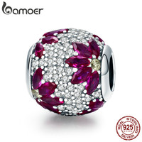 BAMOER Spring Collection 925 Sterling Silver Maple Leaves Clear CZ Beads Fit Charm Bracelet Necklaces DIY