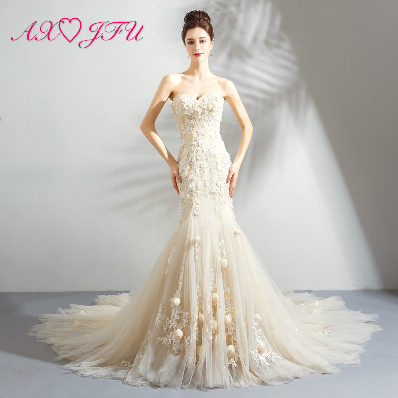 Champagne Lace Wedding Gown: AXJFU Luxury Princess Strapless Beading Crystal Wedding