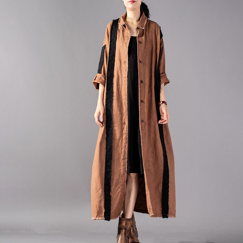 EWQ 2019 New Spring Winter Fashion Lapel Long Sleeve Hit Color Single Breasted Loose Long