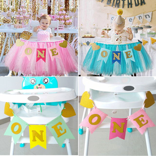 2018 Non Woven Fabric Garland Banner Baby One Years Old Birthday Party Letter Printing Flags