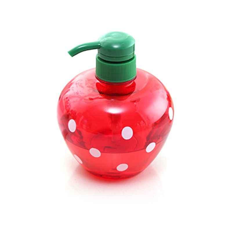 500ml Cute Heart Shape Soap Dispenser Press Split Empty Pump Bottle  Strawberry Polka Dot Printed Shampoo Shower Container