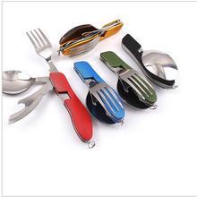 Открытый Многофункциональный вилка нож Столовые инструменты из нержавеющей стали Портативный 4 в 1 складной нож-вилка для кемпинга пикника путешествия