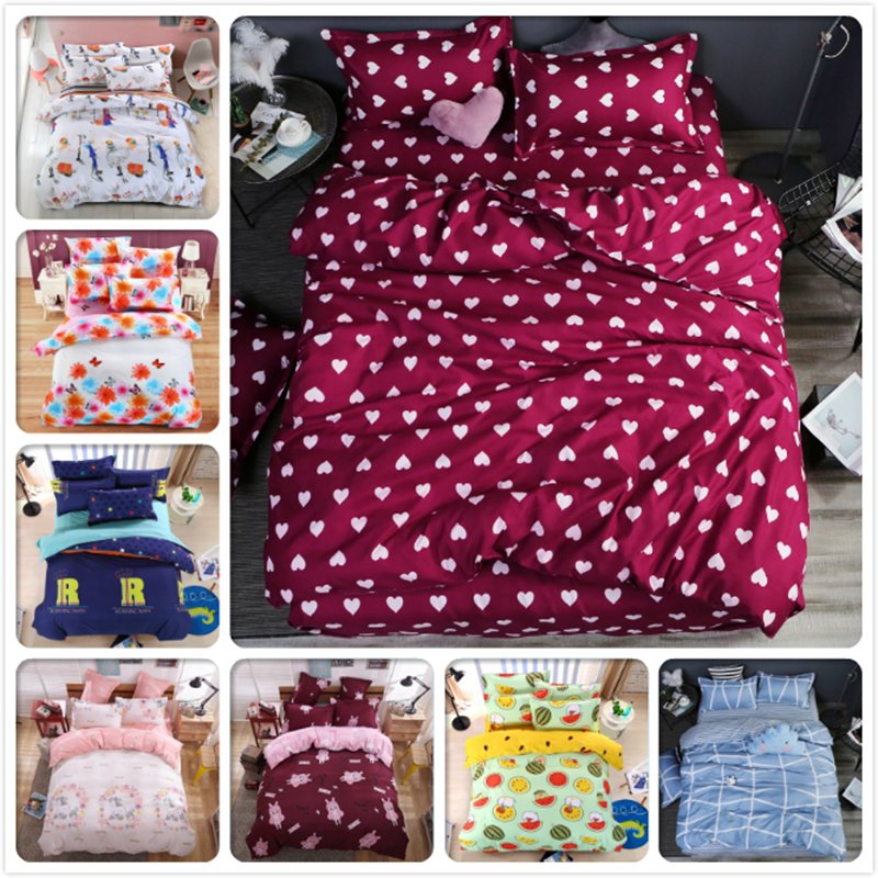 Loving Heart Boy Girl Kids 3/4 pcs Bedding Set 1.2m 1.5m 1.8m 2.0m 2.2m Flat Sheet Bed Linens Queen Double Duvet Cover Bedlinens