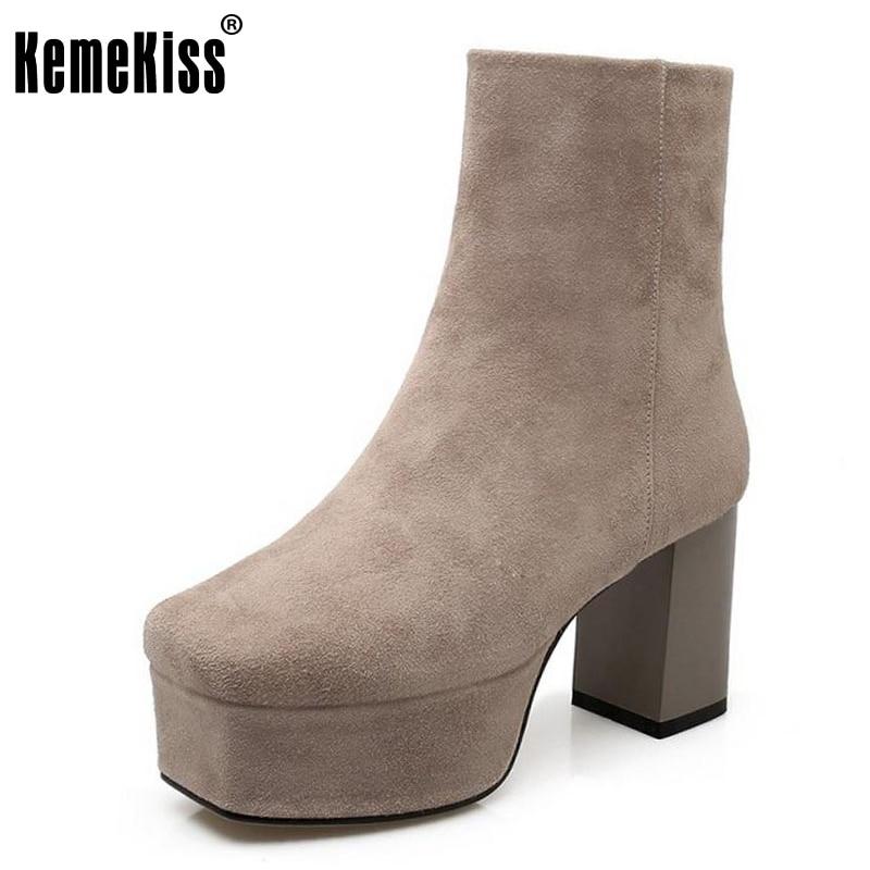 цены на KemeKiss Size 34-39 Ladies Real Leather High Heel Warm Boots Women Platform Zipper Winter Shoes Warm Manual Made Footwears в интернет-магазинах
