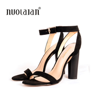 2017 Newest Women Pumps Shoes Celebrity Wearing Simple Style Strappy Buckle High Heels Sandals High Heel