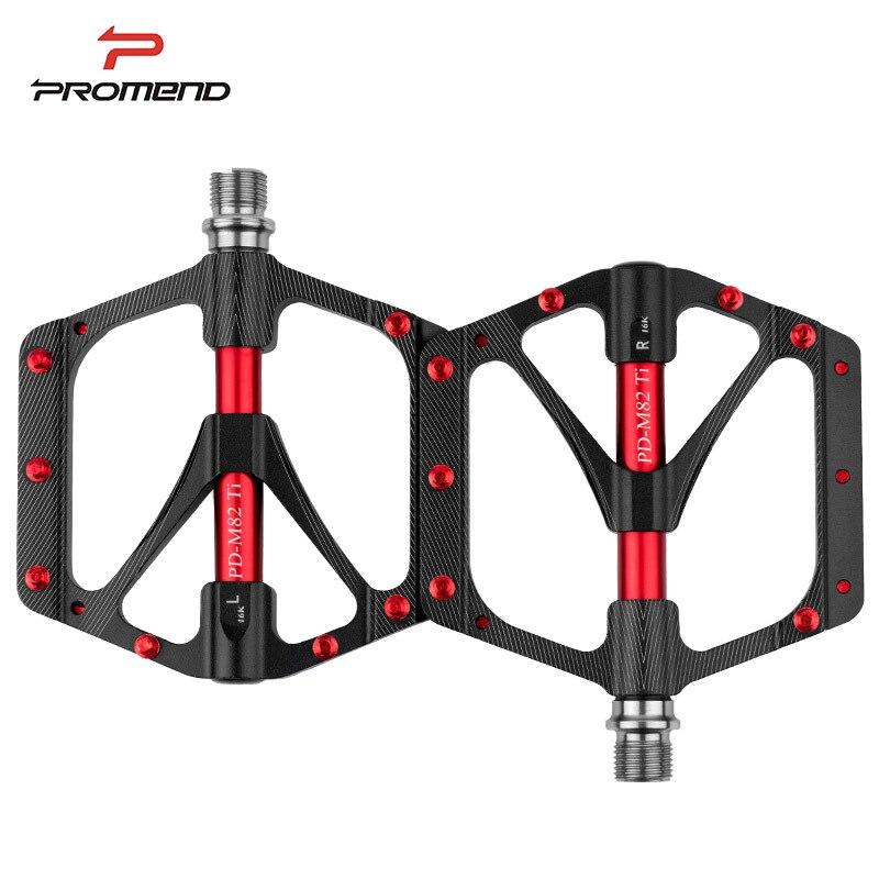 251g Ti essieu Ultra-léger vélo pédales CNC en alliage de magnésium VTT pédales élargir titane pédale route vtt 6 roulements noir