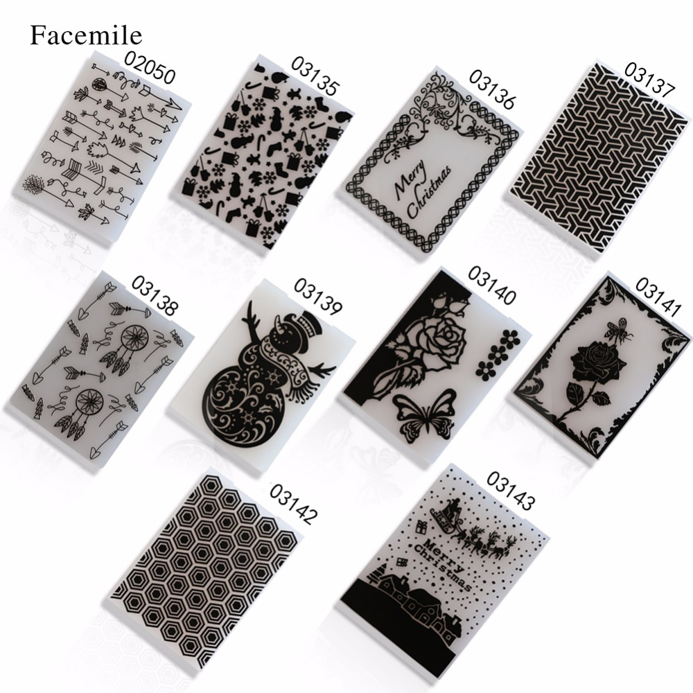 Facemile Plastic Embossing Folder Transparent Christmas Stamp For DIY Scrapbooking Card Making Template Gift Decor Cutting Dies