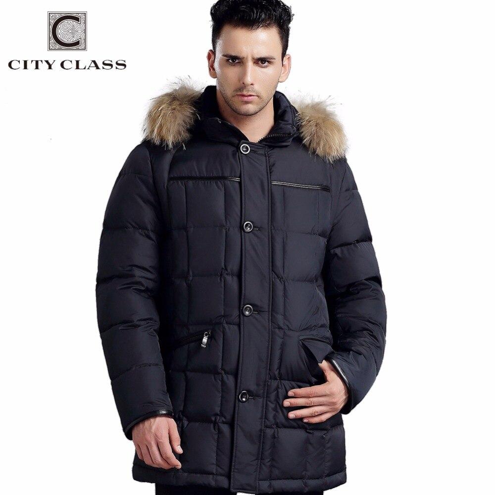 City Class hooded winter coats with raccoon dog warm bio down jackets thick warm overcoat hood parkas Masculina Inverno 266-13