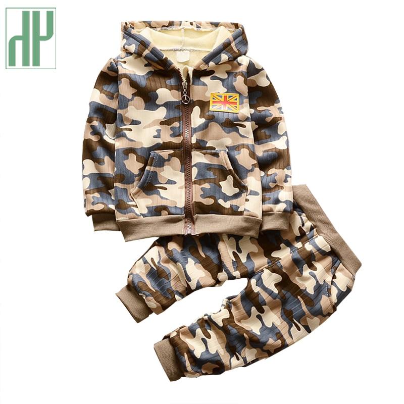 Корейская детская одежда с капюшоном с длинным Брюки для девочек Камуфляж детская одежда продажа девушки зима изысканные наряды одежда для маленьких мальчиков