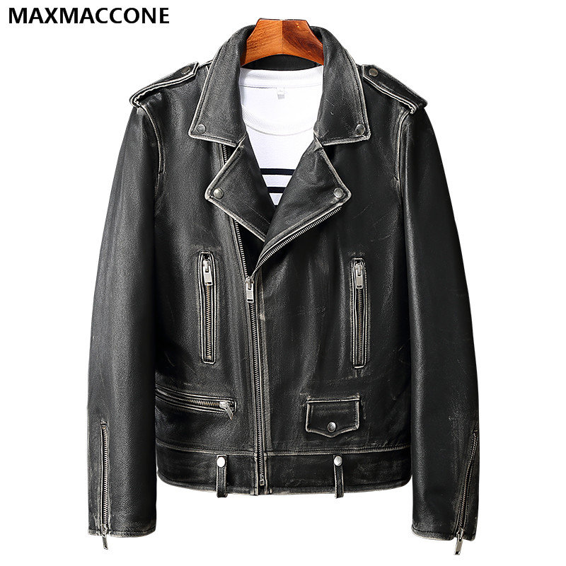 2018 Men Vintage Black Genuine Leather Motorcycle Jacket Diagonal Zipper Real Thick Cowhide Slim Fit Biker Coat FREE SHIPPING