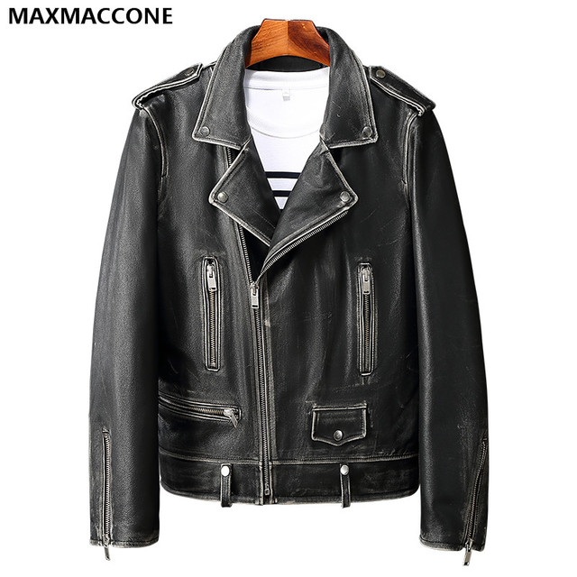 f1a283ca2a 2019 Men Vintage Black Genuine Leather Motorcycle Jacket Diagonal Zipper  Real Thick Cowhide Slim Fit Biker Coat FREE SHIPPING