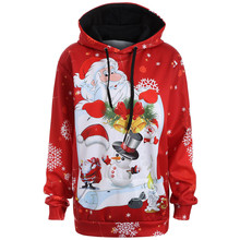 Women Christmas Santa Claus Snowman 3D Hoodies Tops Sweatershirt Pullover Autumn Winter Loose Thin Hooded Skateboarding Hoodies