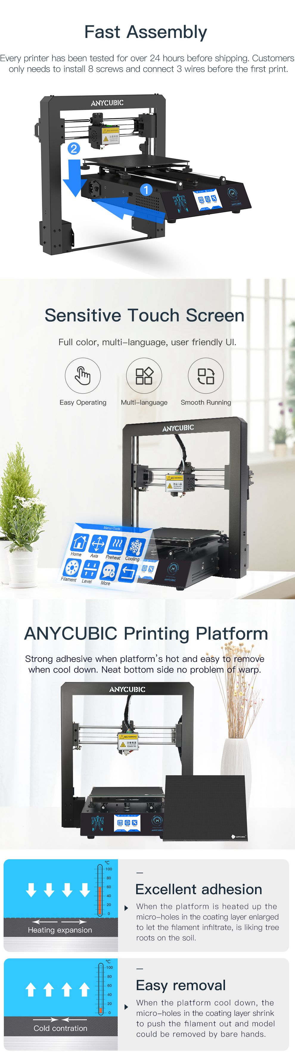 ANYCUBIC i3 mega S/Mega X 3D Printer DIY 3D Color Printer kit Full Metal Frame Grade High Precision 3D drucker imprimante 3d