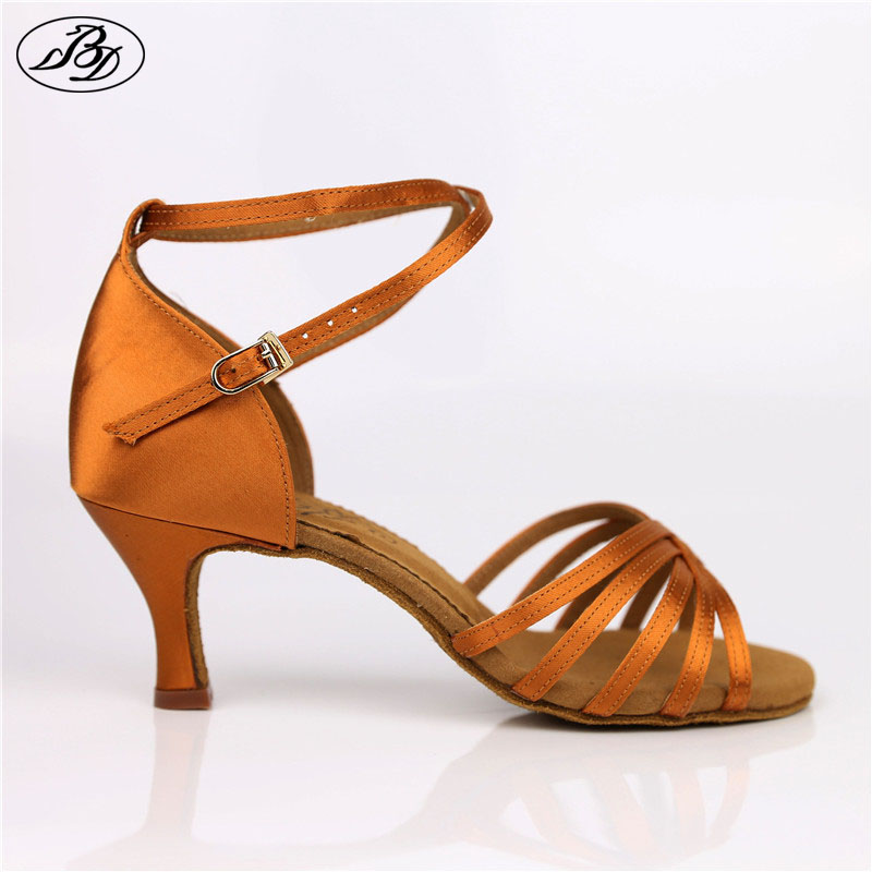 BD Women Dance Shoes 211 Dark Tan Svart Satin Ladies Latin Dance Shoes Lady Sandal Professionell Danssko Samba Rumba Salsa