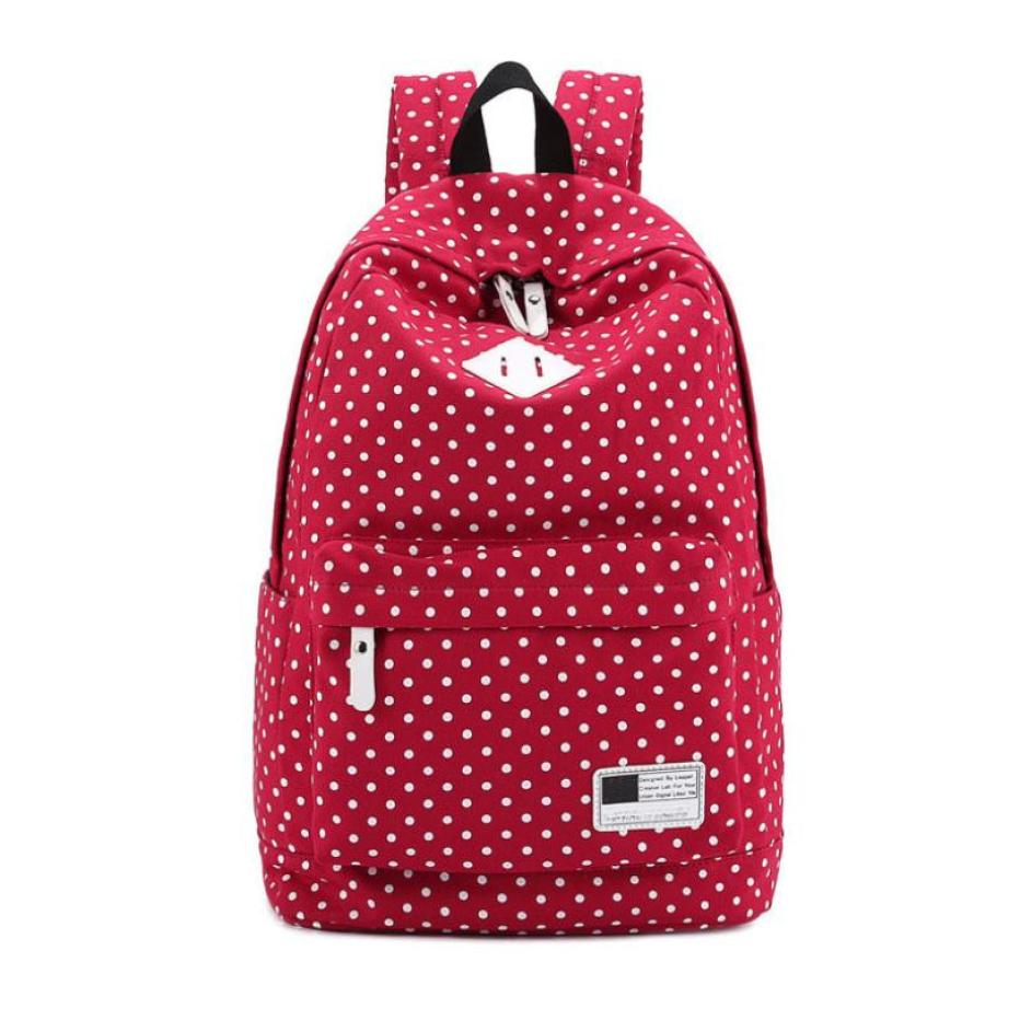 Polka Dot School Shoulder Canvas Backpack Bag Travel Rucksack Large Capcity Backpack Student Backpacks Riding Daypack Stachel-12 ...