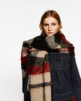 za major Winter 2015 Tartan Scarf Desigual Plaid Scarf cuadros New Designer Unisex Acrylic Basic Shawls Women's big size Scarves
