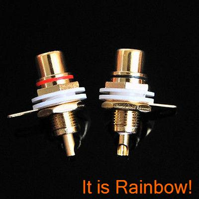 10pcs AMPS Gold RCA Connector Femail Chassis Sockets free shipping 10pcs stereo rca connector female chassis sockets