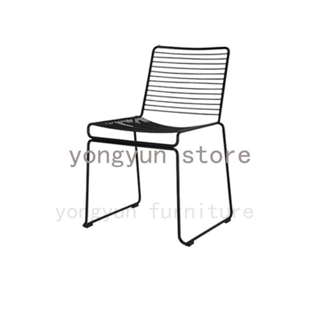 Minimalist Modern Classic Metal Outdoor Chair Stackable Steel Cafe Popular Dining Room Studio Wire