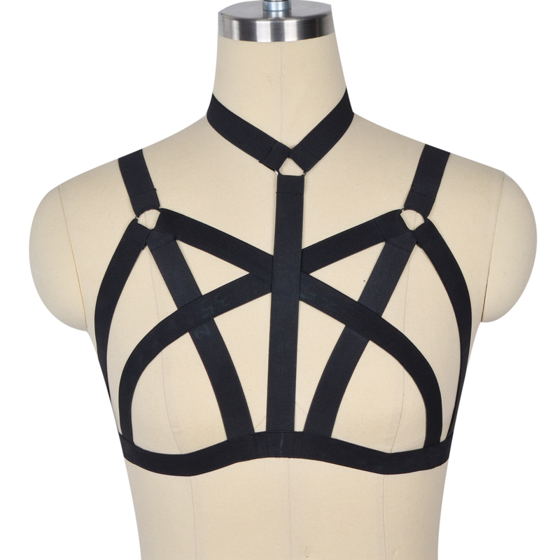 Nové popruhy pro ženy s podprsenkou Top body Spandex Adjust Open Cage podprsenka Sexy body punčochy Goth harajuku Pentagram postroje