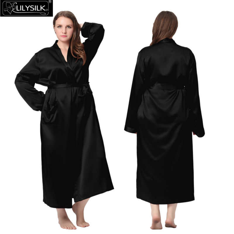 de80c29ab8 Lilysilk Long Silk Bathrobe Women Plus Size Bridesmaid Robes 22 ...