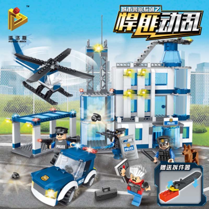 Игрушки для детей City Полиция серии крупномасштабных Городские сценки строительные блоки игрушки Рисунок Развивающие игрушки Строительств