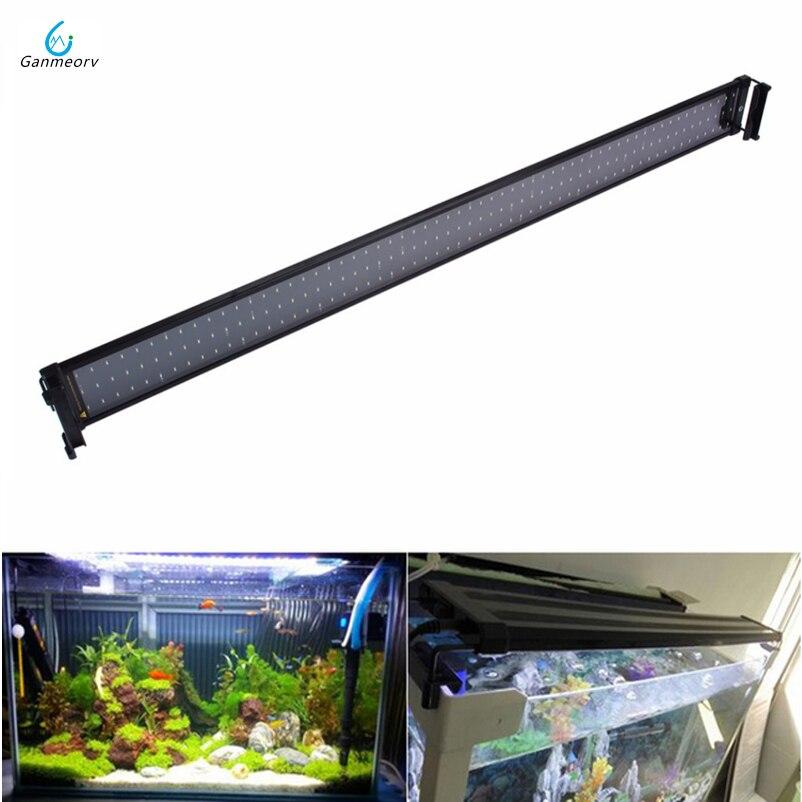 95 ~ 115 cm Aquarium Fish Tank lumière LED Lampe avec Extensible Supports 120 Blanc et 24 lumière bleue LED pour Aquarium Éclairage