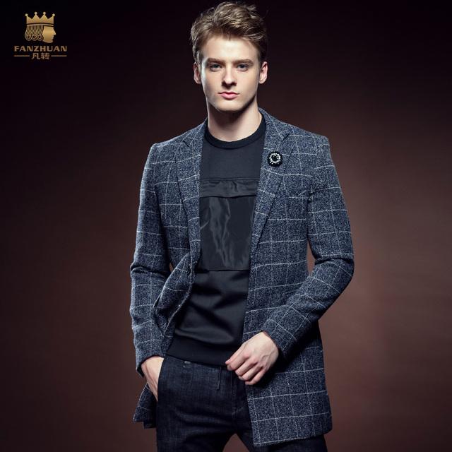 Frete Grátis Nova moda casual masculino inverno Xadrez de lã dos homens de Inverno Europa fanzhuan engrossado longo 610123 casaco de lã grossa