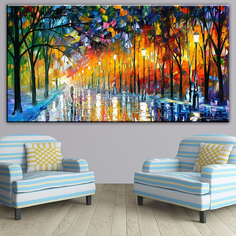 Large Hand Painted Palette oil Painting Knife landscape Oil Painting On Canvas For Living Room Modern Abstract Art Picture gift in Painting Calligraphy from Home Garden