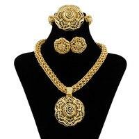 New Christmas Jewelry Fashion African Flower Pendants Necklaces Jewelry Nigerian Women Gold Jewelry Bride Wedding Jewelry Sets