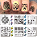 2016 Nueva Nail Art Sello Placas Cut Animal Flor Mandala Diseño Clavo Que Estampa Las Placas de Uñas DIY Decoración BPX09-15