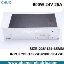 Fonte de alimentação 600 W 24 V 110 ou 220VAC single input output 600 W 25A para cnc luz led ( S-600W-24V ) frete grátis