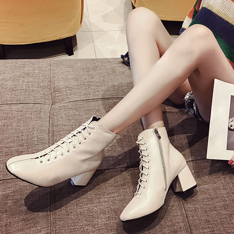 8d7b39b1e6f5e Spring Autumn Women Ankle PU Boots High Square Heel Zipper Ladies Casual  Fashion Cross-tied Booties Size 35-39 6O0303